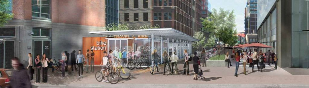 The Bike Hub is a planned bike station with lockers and showers. Rendering from denverurbanism.com; courtesy of BikeDenver.