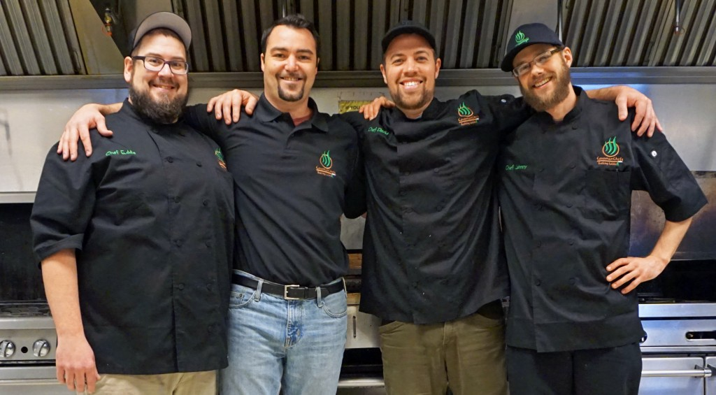 From left: Chef and co-Owner Eddie Coulonbe, Operations Manager Zach Kopp, Chef/Co-Owner David Kenney, and Sous Chef Johnny Coulonbe