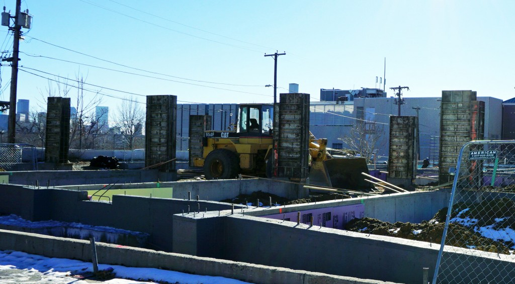 Construction is underway on new townhomes at Federal Boulevard and 33rd Ave. Photo by Burl Rolett.