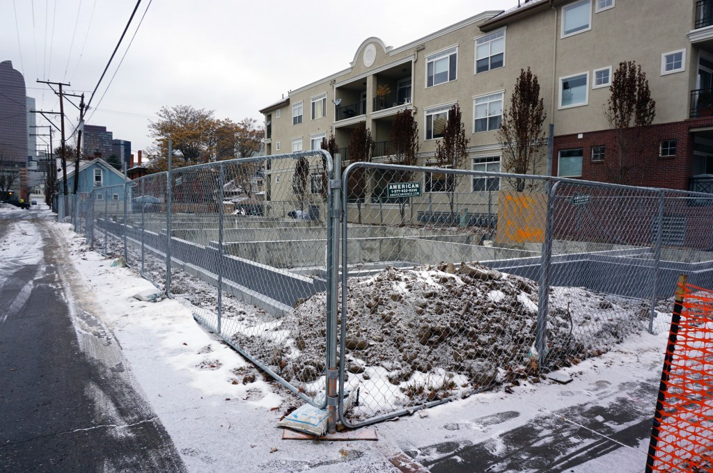 New town houses are going up on Ogden Street. Photo by Burl Rolett.