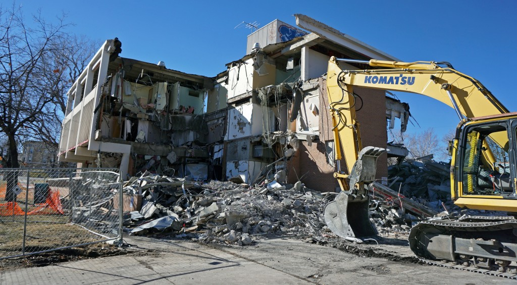 An office building is being torn down at 17th and Lafayette avenues. Photo by Burl Rolett.