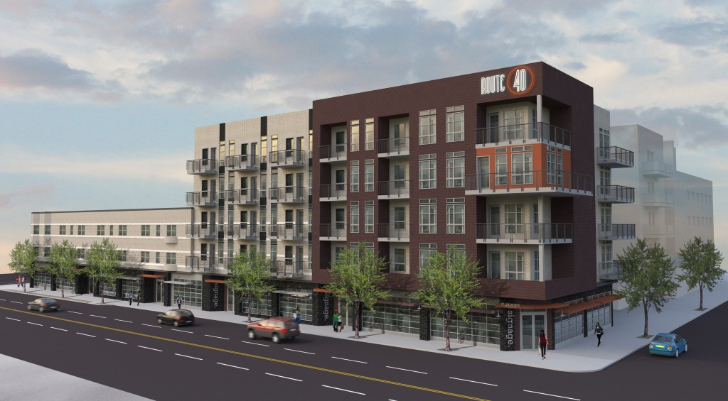 A development firm is selling the land and plans for a 75-apartment building. Rendering courtesy of ARA.
