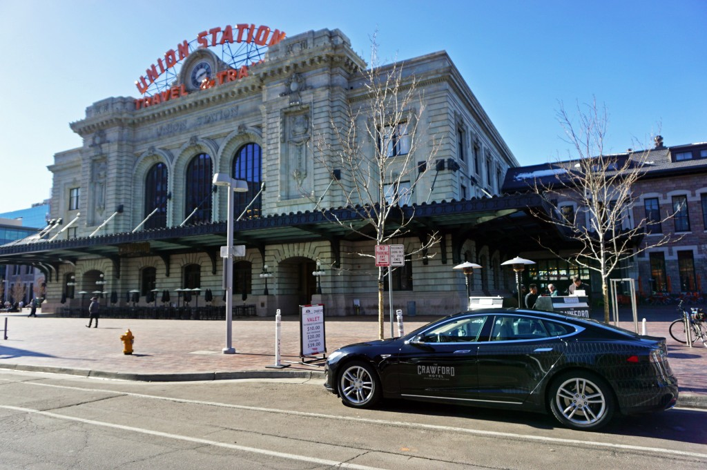 The Crawford Hotel - located in Union Station - bought a Tesla for guests. Photo by George Demopoulos.