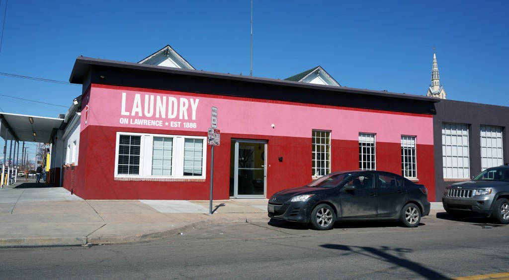 A law firm is redoing the Laundry on Lawrence office building. Photo by Burl Rolett.