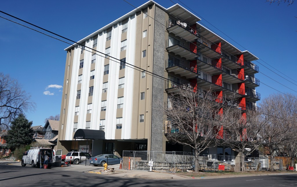 The apartment complex at 1412 Steele St. is undergoing renovations to its 50 units. Photos by Burl Rolett.