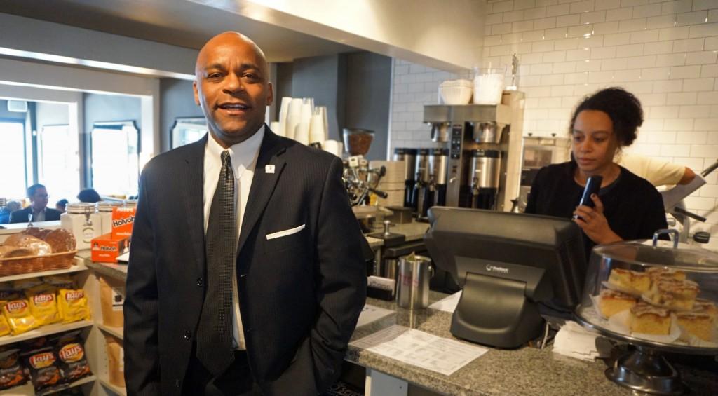 Mayor Michael Hancock visits Rosenberg's Bagels. Photo by George Demopoulos.