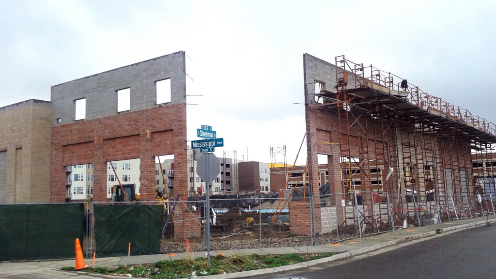 The skeleton of an upcoming grocery store is taking shape on Mississippi Avenue. Photo by Burl Rolett.