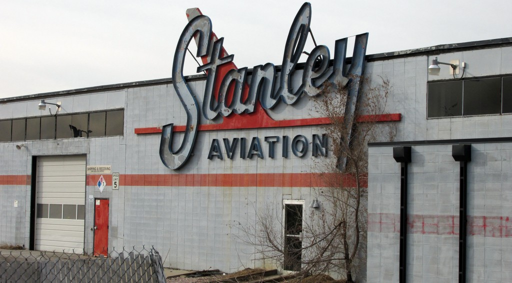 A gym and yoga studio are moving into the former Stanley Aviation building in Stapleton. Photo by Rob Melick