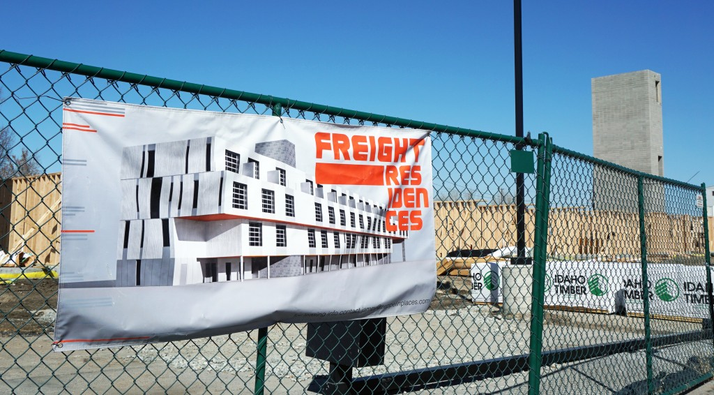 Construction is underway on the Freight Residences project in RiNo.Photo by Burl Rolett.