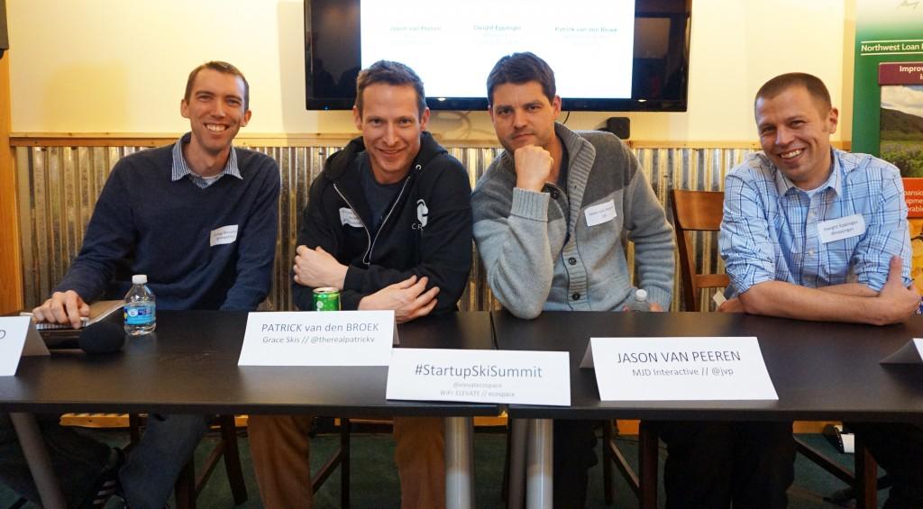 From left: Gregg Blanchard, Patrick van den Broek, Jason Van Peeren, Dwight Eppinger were on the panel at Saturday's Startup Ski Summit. Photos by George Demopoulos.