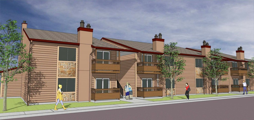 The PeakView apartment complex will undergo renovations under its new owner. Rendering courtesy of ConAm Group.