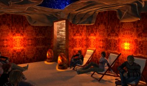 The spa will be built around the salt cave, a small room lined wall-to-wall with Himalayan salt.