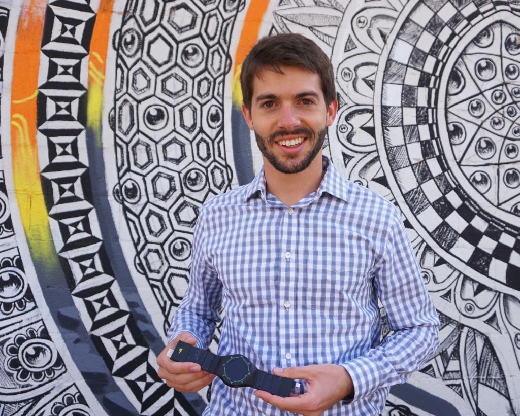 Hemera founder Luke Vance holds a QBand watch, which also acts as a phone charger and USB. Photos by George Demopoulos.
