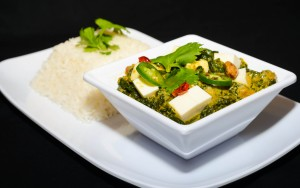 Taja's saag paneer, made with greens, paneer cheese and spices. Photo courtesy of Taja.