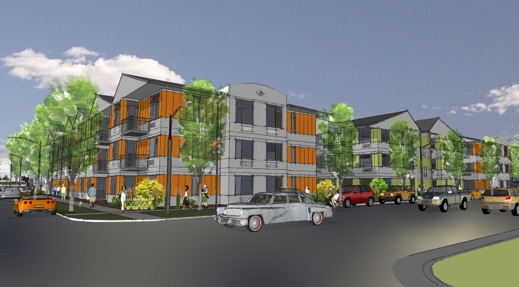 Plans call for four buildings comprising nearly 100 apartments. Rendering courtesy of St. Charles Town Co.