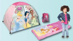 Exxel's sleeping bag and gear products include Disney- and Hello Kitty-themed items.