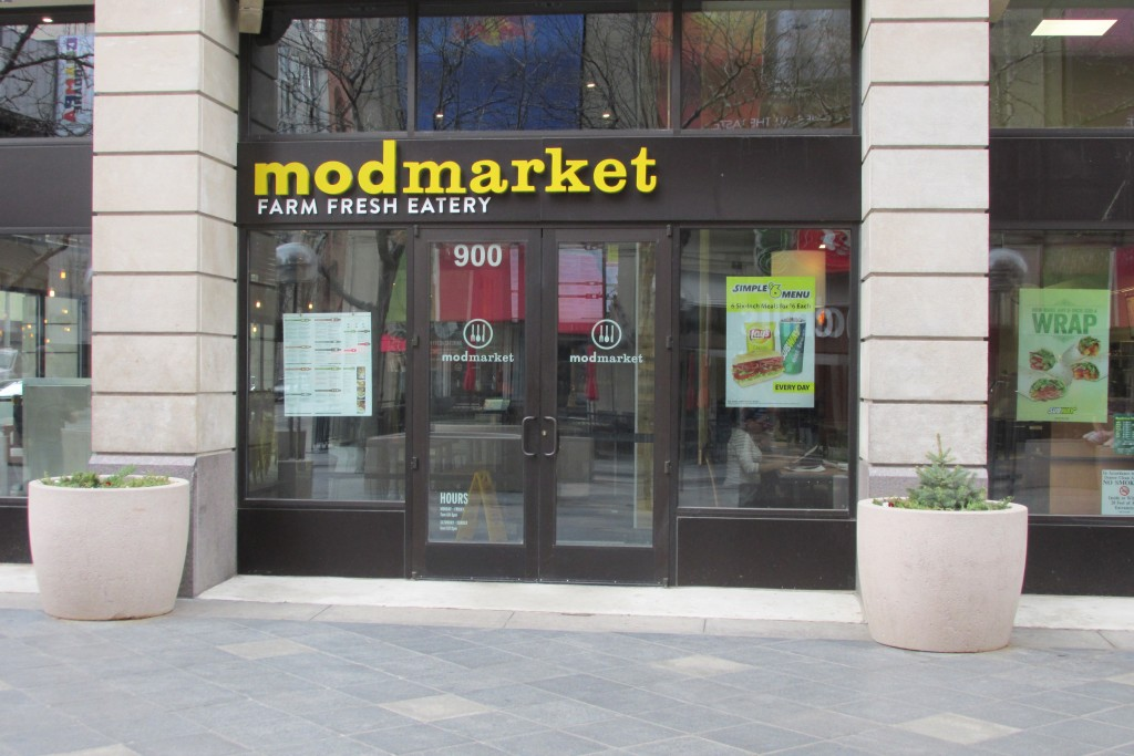 Modmarket, a restaurant that has a location on the 16th Street Mall, is taking a similarly named pizza restaurant to court. Photo by Aaron Kremer.