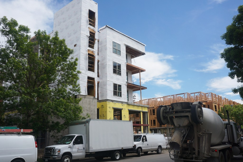 Apartments are taking shape at the St. Anthony's site. Photo by Burl Rolett.