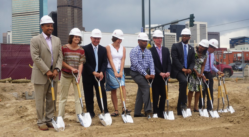 Century Real Estate broke ground on an upcoming apartment complex on Monday. Photo by Burl Rolett.
