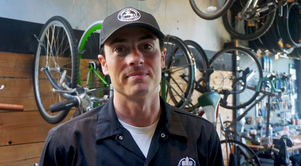 Peter Roper's bar and cafe is getting crowded by a bike repair and custom work shop. Photos by Burl Rolett.