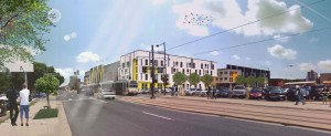Plans call for two buildings and a total of 223 units. Rendering courtesy of Century.