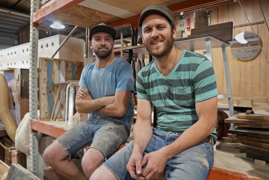 Ben Olson (left) and Rob McGowan are expanding their custom furniture business. Photos by Katherine Blunt.