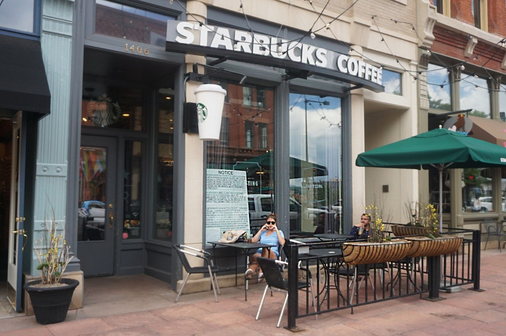 The Starbucks at 1406 Larimer St., along with a few other locations, has applied for a liquor license. Photos by Burl Rolett.