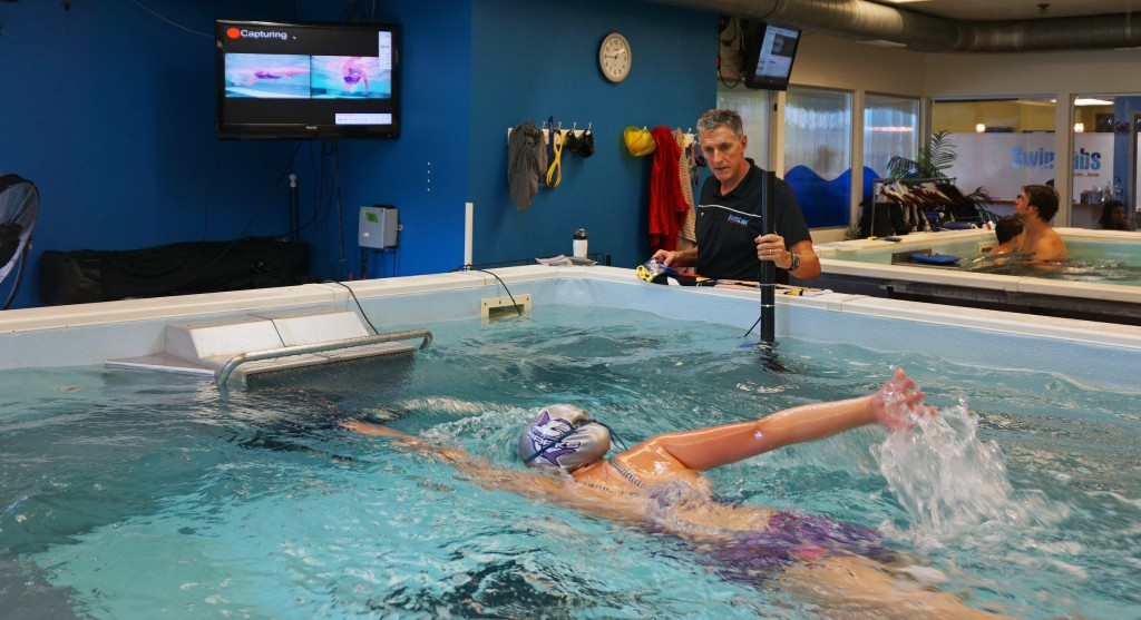 Mike Mann watches a student at SwimLabs in Highlands Ranch. Photos by George Demopoulos.