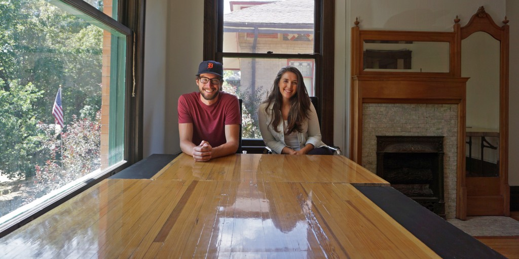 Rex Roberts and Lindsey Strickler are opening a small co-working space, outfitted with conference tables made from old bowling lanes. Photos by George Demopoulos.