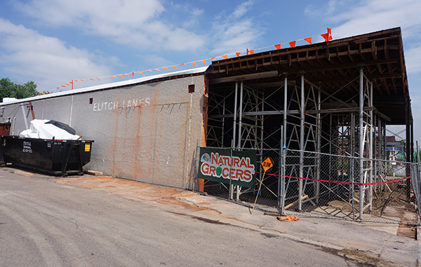 Natural Grocers has work underway at the old Elitch Lanes space. Photo by Burl Rolett.