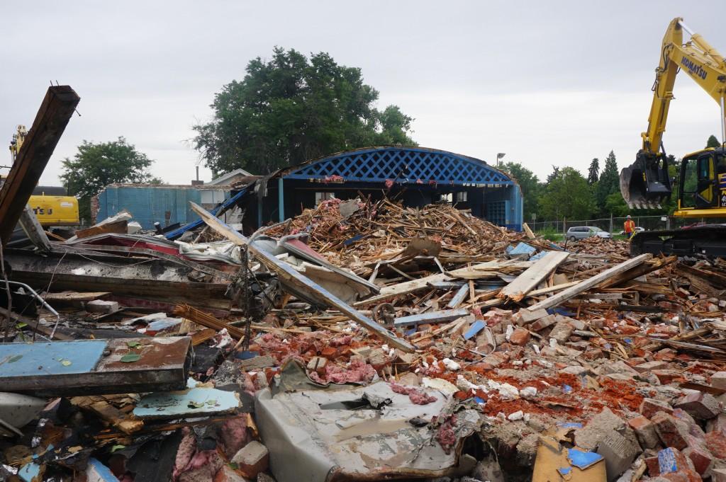 Demolition work is underway along York Street. Photo by Burl Rolett.