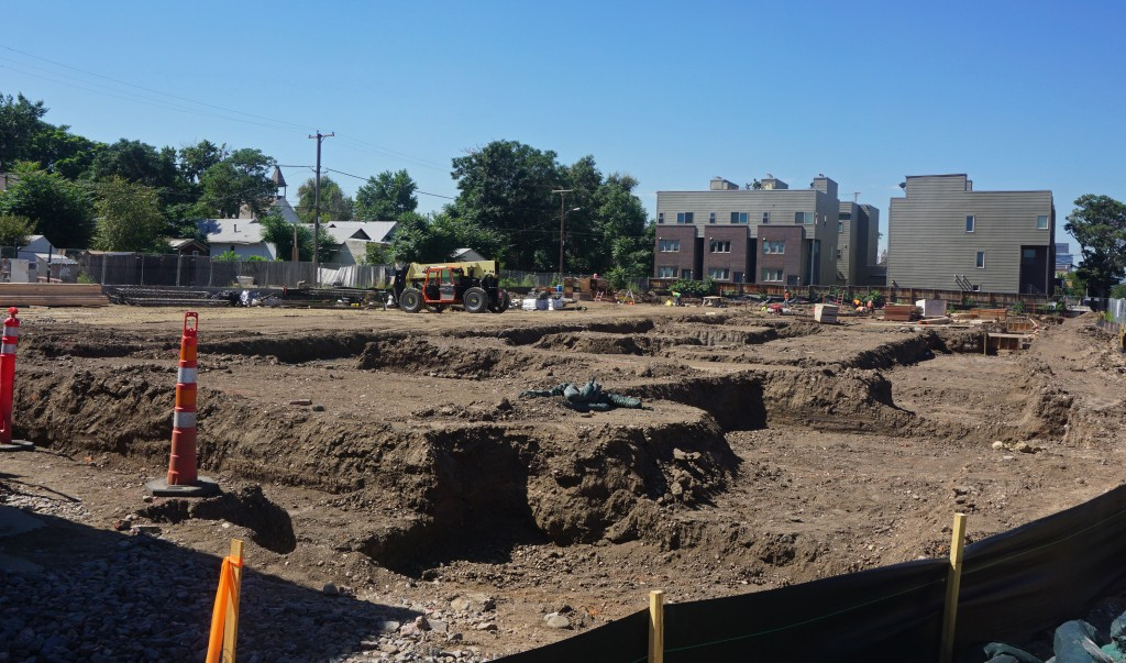 Site work is underway at 35th and Larimer. Photo by Burl Rolett.