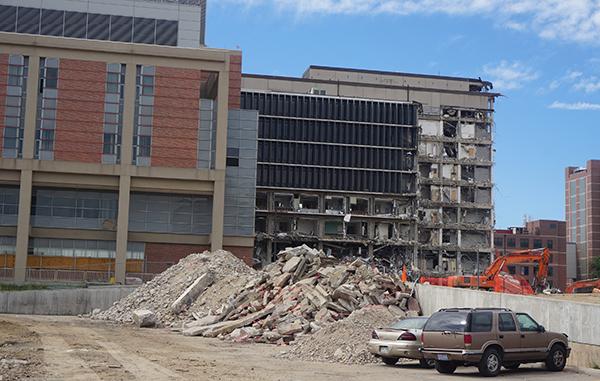 Crews tear down the CU Hospital building. Photos by Burl Rolett.