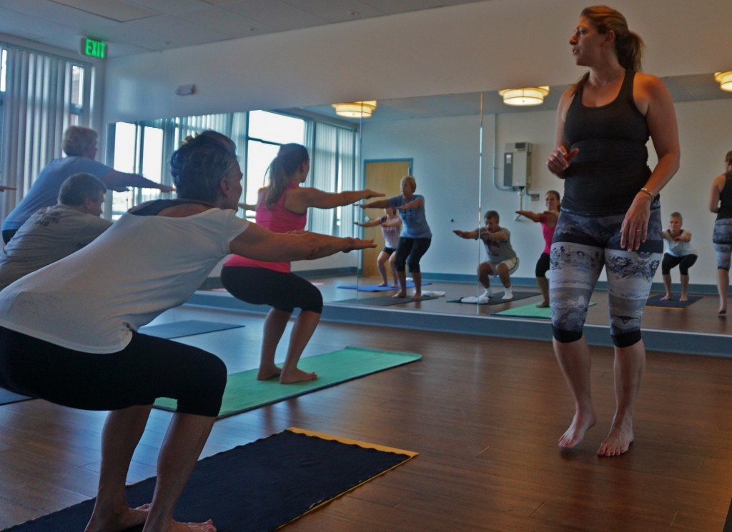 Christy Brown leads a hot yoga class on Saturday. Photos by George Demopoulos.