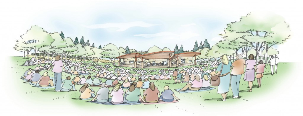 A local nonprofit plans to build a music venue in Ruby Hill. Rendering courtesy of Levitt Denver.
