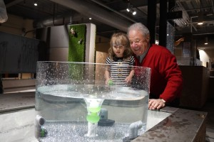 A family experiments with a water exhibit at the museum.