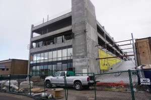 Construction is underway on the new building in Industry. Photo by George Demopoulos.