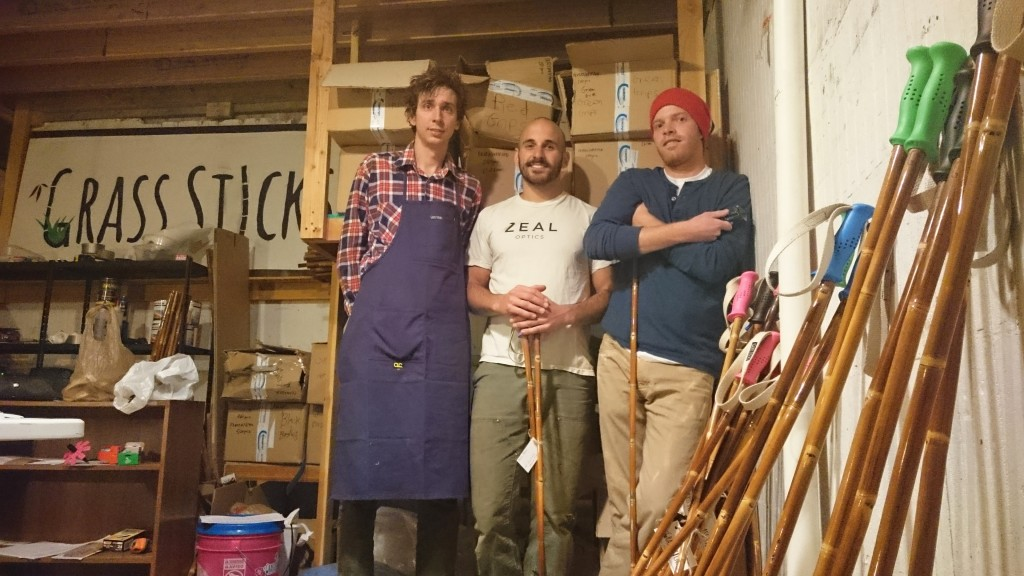 From left: Kevin Dooley, Andrew Beckler and Andrew Bowlin are hoping their ski pole startup will gain speed this season. Photos courtesy of Grass Sticks.