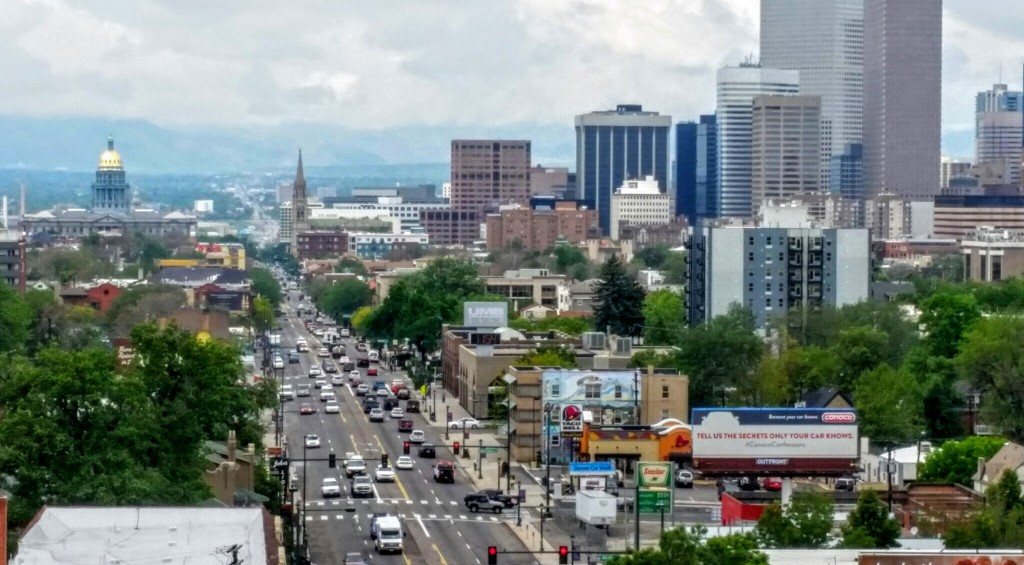 The view down Colfax from the roof of the Weicker building. Photo courtesy of CBID.