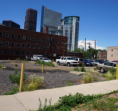 A view of the lot where the building will take shape. Photo by Burl Rolett.