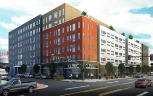 Plans include a split-level, seven- and five-story building with 175 one-bedroom apartments, and a 46,000-square-foot underground parking deck. (Rendering courtesy DHA)