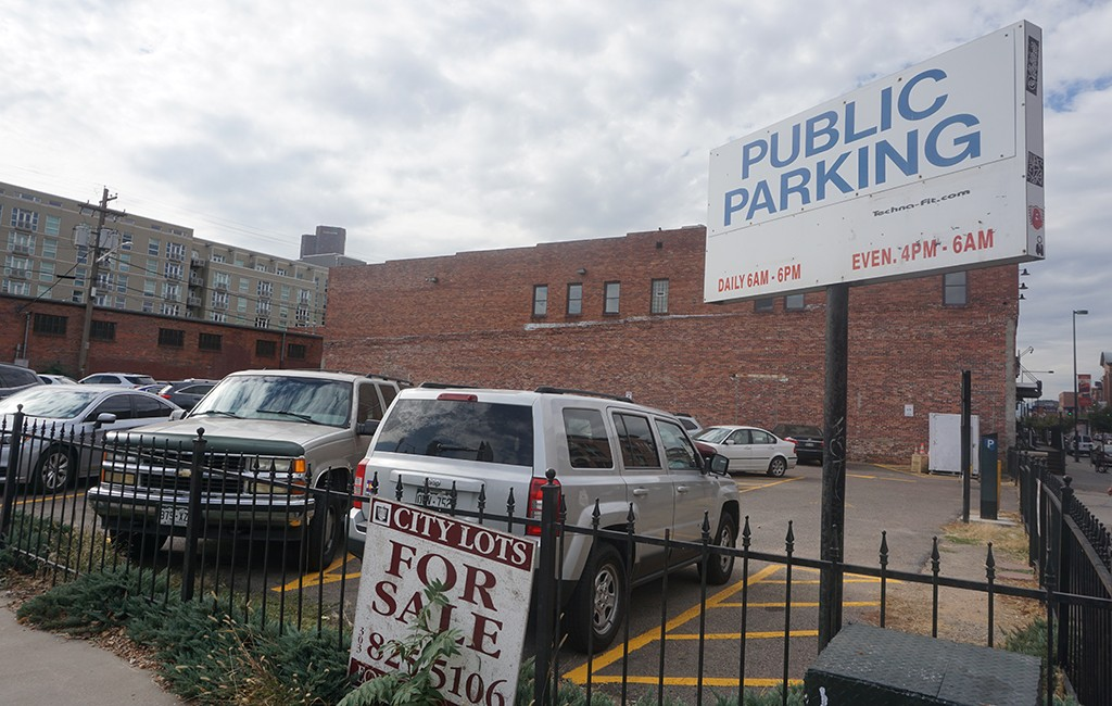 The project would take the place of a 12,500-square-foot parking lot at 2250 Blake St., which is listed for $3.48 million. (Burl Rolett)