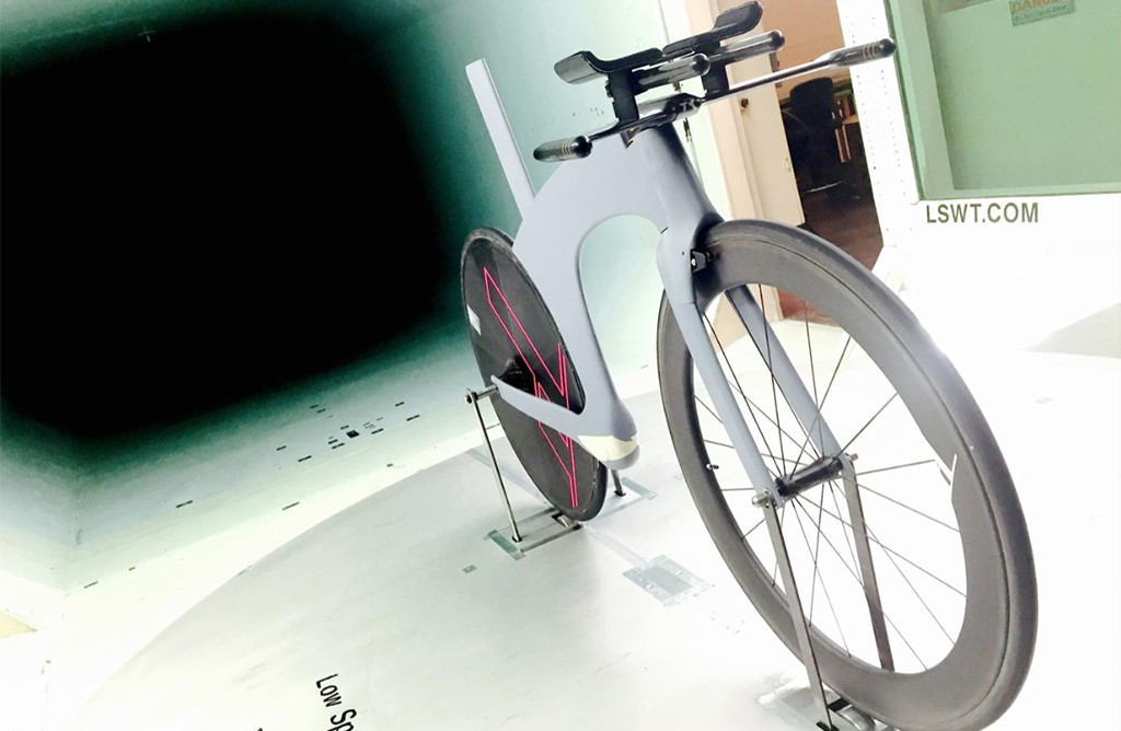 Salazar tested prototypes of the Omni bike frame in a wind tunnel to combat wind drag. (Courtesy TriRig)