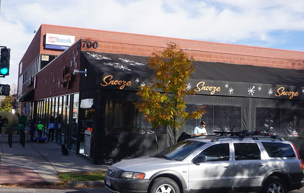 The retail and office property at 700 Colorado Ave. is anchored by brunch hotspot Snooze. (Burl Rolett)