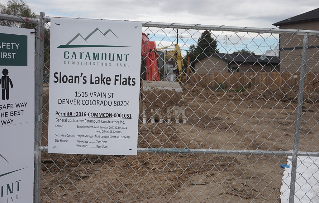 An 82-unit apartment building is under construction at 4601 W. Colfax Ave. (Burl Rolett)