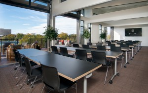 The building has 87 offices, seven conference rooms, a rooftop deck and coworking desk space. (Courtesy Shift)