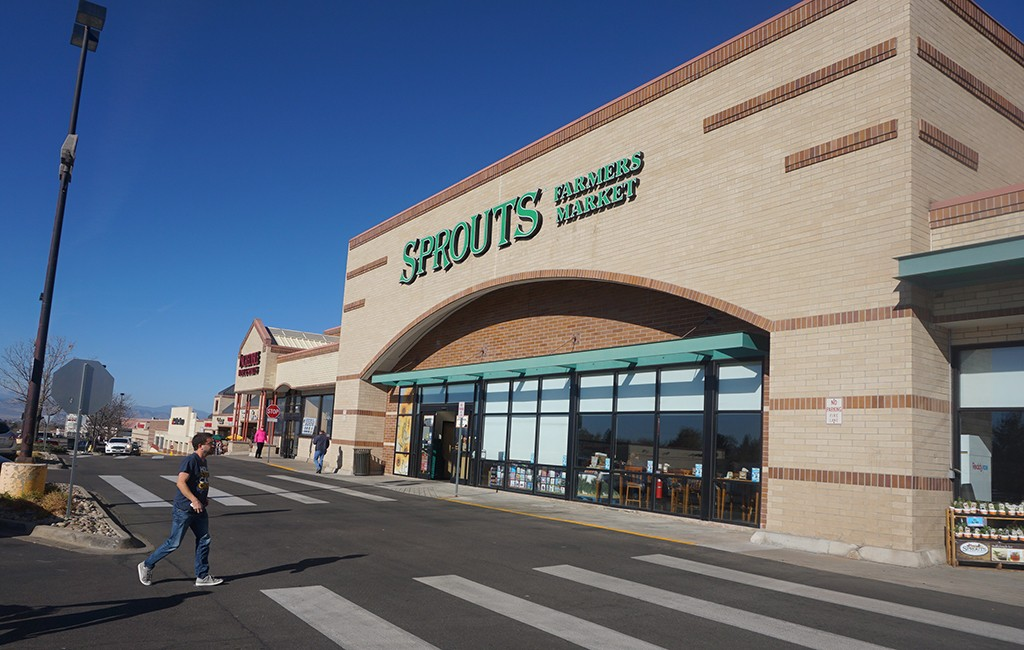 The Sprouts-anchored Arapahoe Marketplace Shopping Center near Arapahoe Road and Interstate 25. (Burl Rolett)