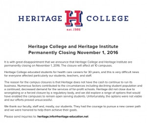 A letter on the Heritage College website announces the closing.