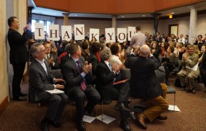 The crowd shows their appreciation at the announcement ceremony. (Amy DiPierro)