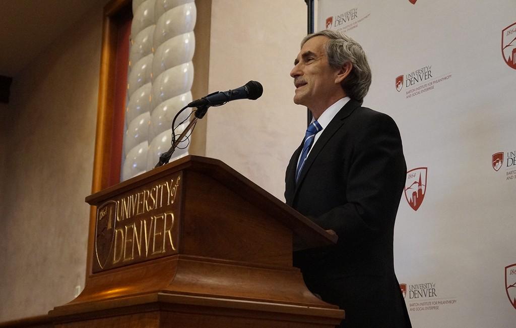 David Miller announces the donation at the University of Denver. (Amy DiPierro)